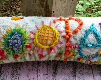 Freehand Embroidered Bohemian Letters Name Pillow Custom Made for SIX LETTERS