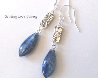 Kyanite Gemstone Fine Silver Earrings, Ocean Surf, Sea Wave, Sterling Hooks, Eco Friendly Silver One of a Kind  Earrings, Ear Wire Options