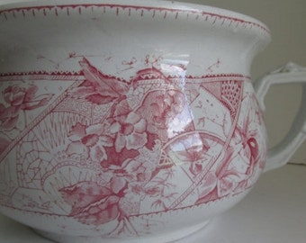 Red Transferware Chamber Pot Antique Red and White Ironstone Red White Decor Victorian Antiques Red Transferware Bowl Victorian Aesthetic