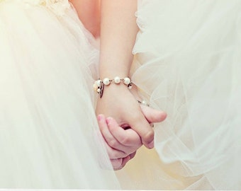Pearl Bracelet, Flower Girl Gift, Bridesmaids Bracelet, Childrens Gift, Birthday Gifts, Baptism Gift, Peach Flower Gift, Infant Bracelet