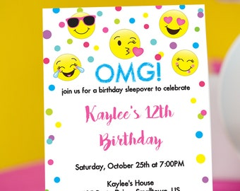 photograph about Emoji Invitations Printable Free called emoji birthday invites printable totally free - Kadil
