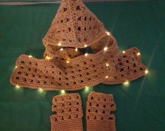 Crocheted Scarf with Hood and Lights- Caramel