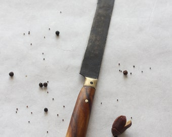 Wood handled kitchen knife