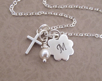 First communion necklace - Dainty Cross,  initial, birthstone necklace - Goddaughter gift - Sterling silver - Photo NOT actual size