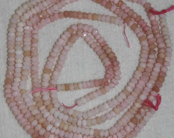 Opal, Peruvian Opal, Pink Peruvian Opal, Faceted Rondelle, Pink Opal Rondelle, Natural Stone, Semi Precious, Strand, 4 mm, Adrianas Beads