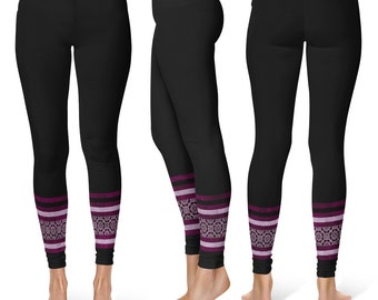 READY TO SHIP - Black Yoga Pants Size Extra Large, Flower Ankle Pattern Leggings Tights for Women