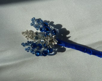 Beaded royal blue and silver buttonhole with crystal flower and royal blue ribbon. Boutonniere. suitable for bridesgroom, bestman, ushers,