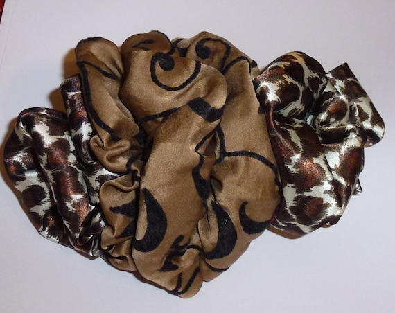 Becky Bows ~  Barrette ribbon Hand crafted oversized  BIG hair bow Women or Girls brown velvet leopard