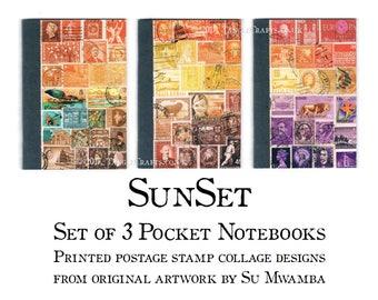 Sunset Travel Journal Notebook Set - Orange Brown Postal Stamp Print