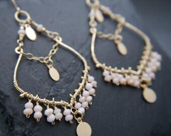 Boho, Pink Opal Earrings, Large Chandelier Earrings, 14K Gold Fill, Wire Wrapped, Fringe Earrings, Bohemian, Ethnic, Hippie, Beaded Earrings