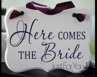 """Here Comes The Bride Sign With Matching Ribbon - Perfect To Announce The Arrival Of The Bride And Customized For You - 9"""" High x 11"""" Wide"""