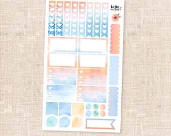 Watercolor sticker sampler set - orange and blue matte planner stickers