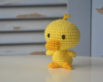 Amigurumi crochet duck tiny doll, little ducklin plush toy