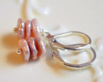 Pink Keishi Pearl Earrings, Drop, Wire Wrapped, Lever Earwires, Leverback, Silver Plated, Freshwater Pearl Jewelry