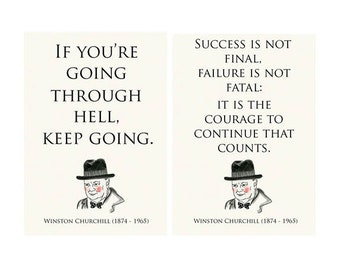 "Motivational Inspirational - TYpography Quote Quotes - Two Winston Churchill motivational quotes 5.8"" X 8.3"" prints"
