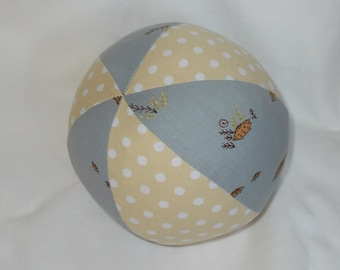 Gray Tortoises and Dots Fabric Ball Rattle - SALE