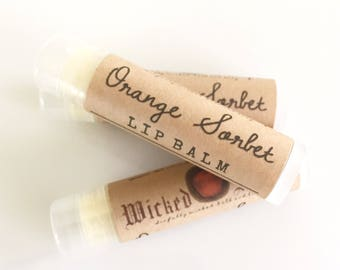 Orange Sorbet Lip Balm -  Natural Lip Balm, Cocoa Butter Lip Balm, Beeswax Lip Balm