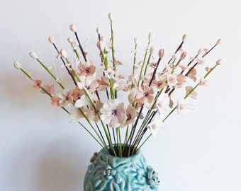 3 Cherry blossom stems - ceramic pottery hand crafted flowers