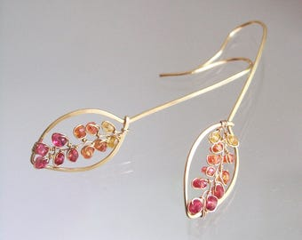 14k Solid Gold Sapphire Earrings, Fiery Gemstone Vine Dangles, Elongated Petal Earrings, Ombre Sapphire Hammered Gold Dangles