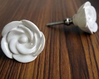 White Ceramic Flower Knob/Drawer Pull