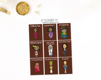 Women's History Month Cultural Icons, Planner Stickers Series 6, Full Boxes to fit Vertical Erin Condren Life Planner