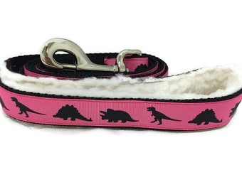 Dog Leash, Pink Dinosaurs, Dino, lead, 1 inch wide, 1 foot, 4 foot, or 6 foot