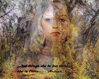 "Shakespeare Photo Quote Print, ""And though she be but little, she is fierce."" Spoken by Helena, Midsummer's Night Dream, 11 x 14 Print"