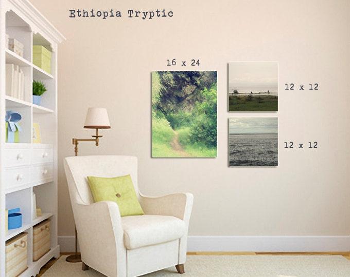 International African Decor, Wanderlust Tryptic Set, Lake Langano Landscape,  Ethiopia Travel Decor, Set of 3 Photographs,