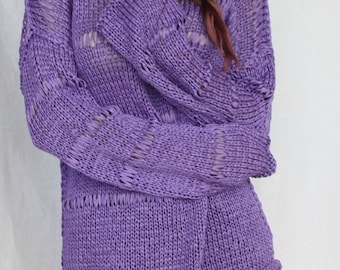 Purple sweater Loose knit sweater Lavender sweater Tunic sweater Slouchy Knitted pullover Hand Knit summer Lilac sweater Knitting jumper