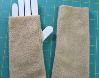 Cozy Fleece Hand Warmers / Gold Fleece Fingerless Gloves