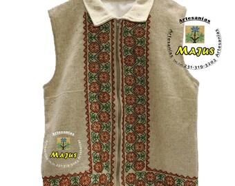 Hand-embroidered handmade wool vest