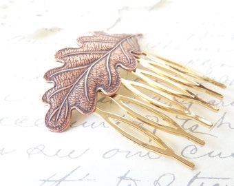 Copper Leaf Hair Comb - Woodland Leaf Hair Comb  - Copper Leaf Hair Accessory - Whimsical - Nature - Bridal Hair Comb