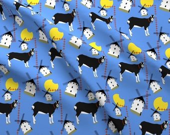 Windmill Fabric - Sammy - The Goat Of La Mancha By Moirarae - Goat Windmill Dutch Farm Animal Cotton Fabric By The Yard With Spoonflower