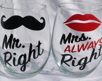 "Stemless Wine Glass Set, ""Mr. Right and Mrs. ALWAYS Right"", Gift for Couples"