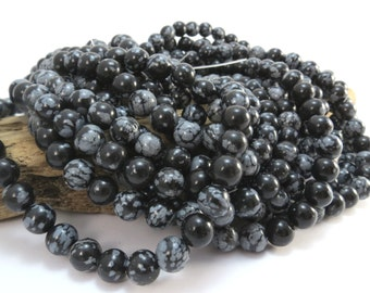 "Snowflake Obsidian Beads, 8mm Black Beads, Natural Black Snowflake Obsidian 8mm Round Beads, 16"" inch Strand, Beading Supplies, Item 993pm"