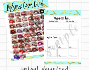 LipSense Color Chart and Wish List - Geometric Lips INSTANT DOWNLOAD