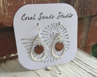 Sterling Silver Brown Capiz Shell Earrings with Teardrop Accent