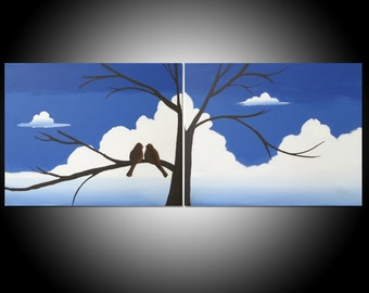 love birds painting abstract landscape triptych nursery canvas wall canvas art on a wire blue green yellow tree of life