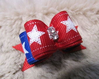 """Mo's USA Dog Bow -5/8"""" double loop 4th of July - patriotic red blue - yorkie bow+"""