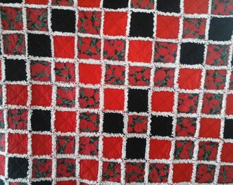 Red & Black Rag Lap Quilt