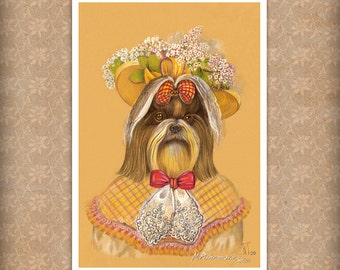 Shih Tzu. Lady Sunny / Shih Tzu Art Print / Lady Dog Portraits by Animal Century