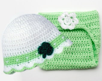 BABY SHAMROCK HAT St Patricks Day Baby St Paddy's Day Irish Baby, Shamrock Knit Baby Hat, Crochet Shamrock Baby Hat, Knitted Clover Hat