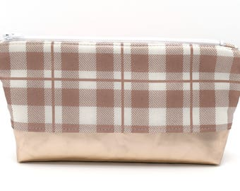 Rose Gold Plaid Essential Oil Bag, Essential Oil Storage, Essential Oil Pouch, Aromatherapy Case, Makeup Bag, Cosmetic Bag, Gift-for-Her