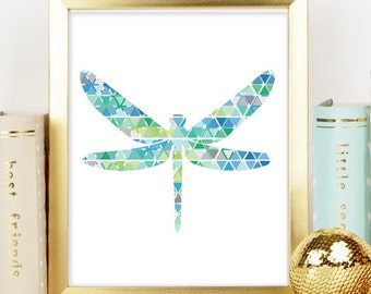Blue Dragonfly Art Print, Geometric prints, Dragonfly decor, Poster, Printable Art, Nursery Decor, Nursery Print, Instant Download