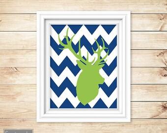 Deer Buck Silhouette Head Navy Chevron Lime Green Nursery Wall Art Bedroom Boy's Room Decor Printable 8x10 Digital JPG Instant Download (9)