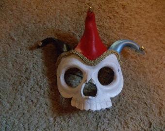 Leather Jester Skull Mask