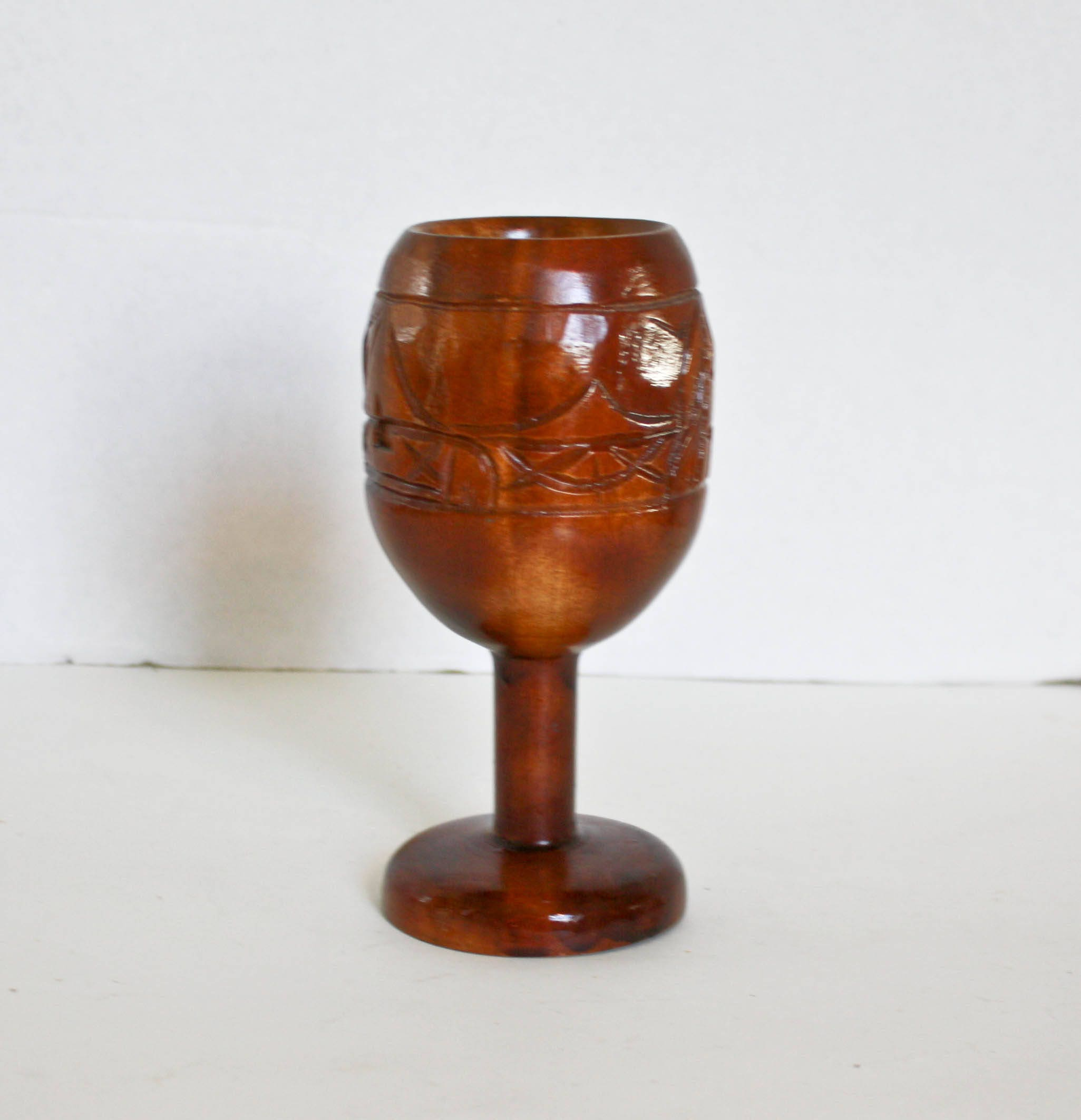 Vintage Wooden Goblet Carved Tiki Cup Monkey Pod Hawaii Retro