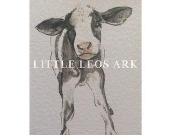 Baby farm animals/ baby calf cow/ farm animal/ nursery prints/ watercolour/ watercolor painting/ print/ wall art/ kids decor/ monochrome