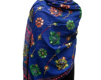 Embroidered scarf/ boho scarf/ multicolored scarf/  blue scarf/ cotton scarf/ large scarf/ gift scarf/ giftdeas.
