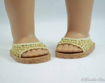 American Girl, 18 inch doll SHOES SANDALS beach flip flops peeptoe flats in Gold Yellow LACY Look with Rhinestone Trim
